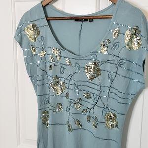 Apt. 9 rayon & sequin short sleeve tee EUC size M
